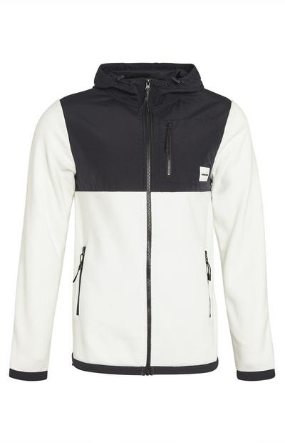 White Colour Block Tech Nylon Zip Up Fleece Hoodie