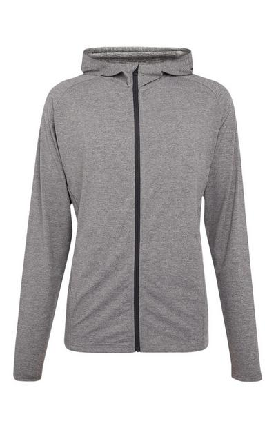 Haut gris ultra-stretch zippé