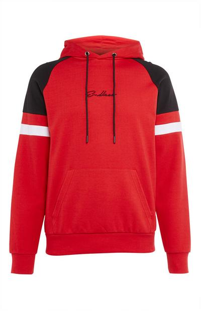 Endless Red Cut And Sew Overhead Hoodie