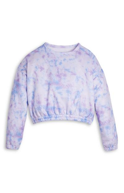 Younger Girl Ombre Crew Neck Tie Dye Crop Top