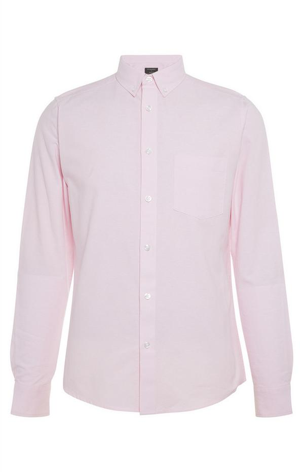 Poederroze Oxford-overhemd met lange mouwen