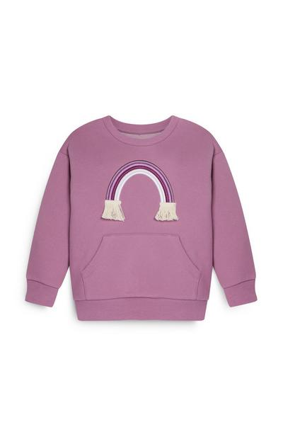 Younger Girl Rainbow Crew Neck Purple Sweater