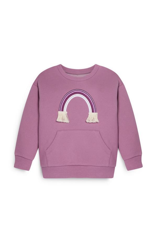 Felpa girocollo viola con arcobaleno da bambina