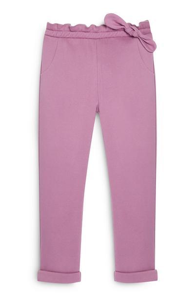 Pantalon de jogging violet à nœud fille