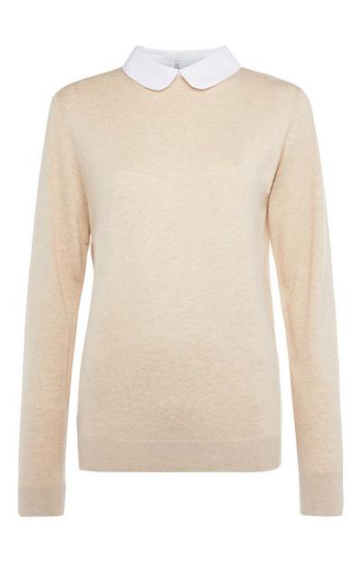 Cream Plain 2-In-1 Jumper and Shirt