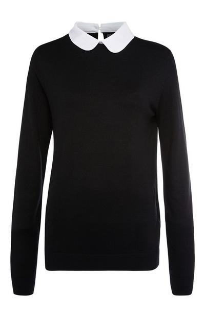 Effen zwarte 2-in-1 trui en overhemd