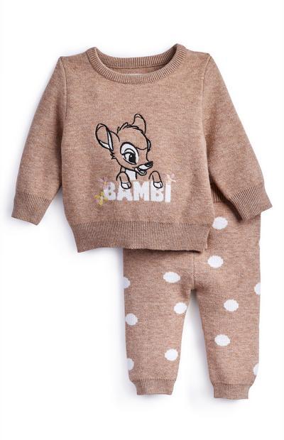 Ensemble spécial détente Bambi en maille taupe bébé fille