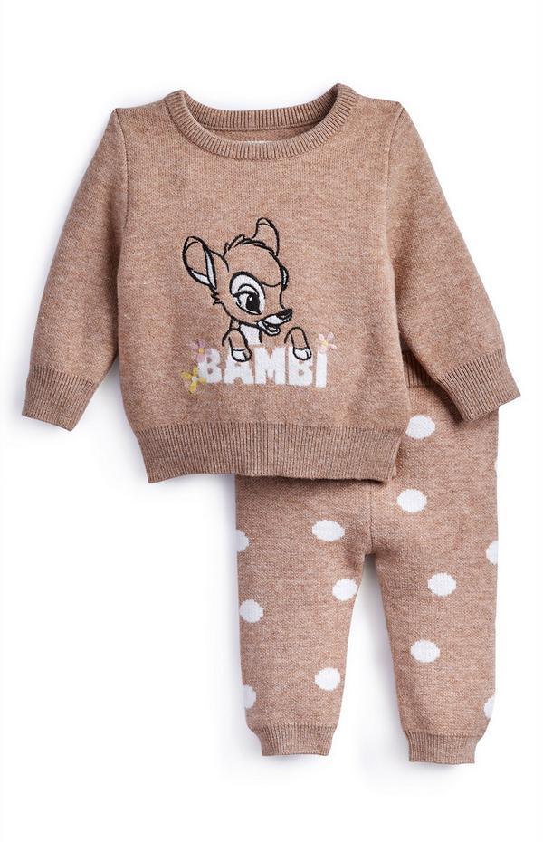 Conjunto de estar en casa de punto de Bambi color marrón topo para bebé niña
