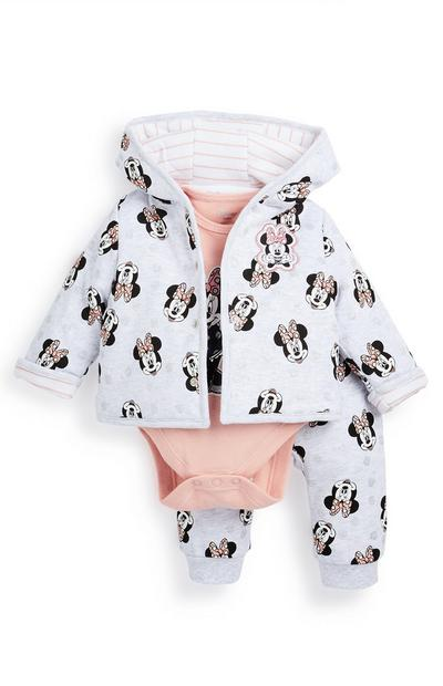 Baby Girl Grey and Peach Minnie Mouse Tracksuit 3 Piece