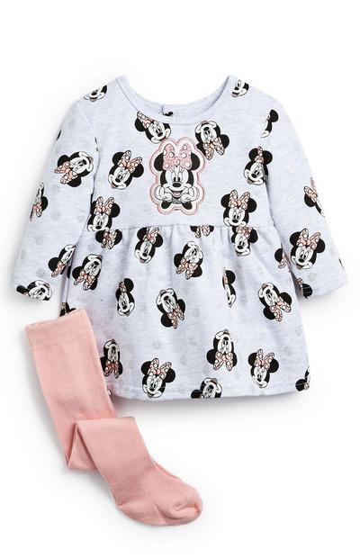 Baby Girl Grey and Pink Minnie Mouse Dress And Tights