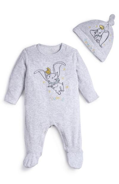 Baby Dumbo Grey Velour Sleepsuit And Hat