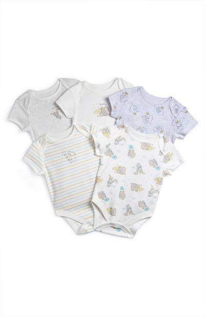 Baby Grey And White Dumbo Bodysuits 5 Pack