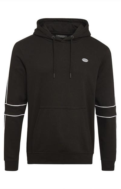 Black And White Piping Pull Over Hoodie