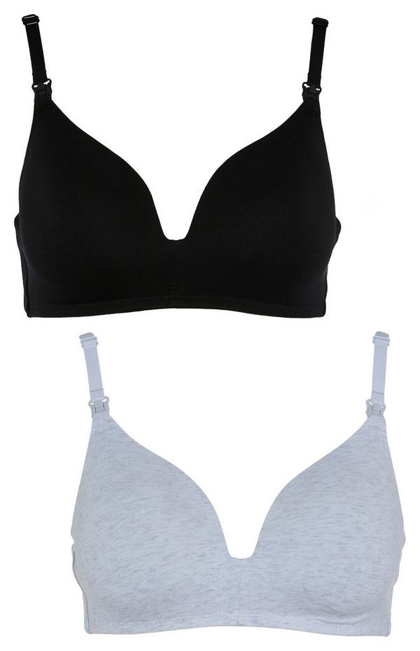 Maternity Black and White Cotton Bras 2 Pack