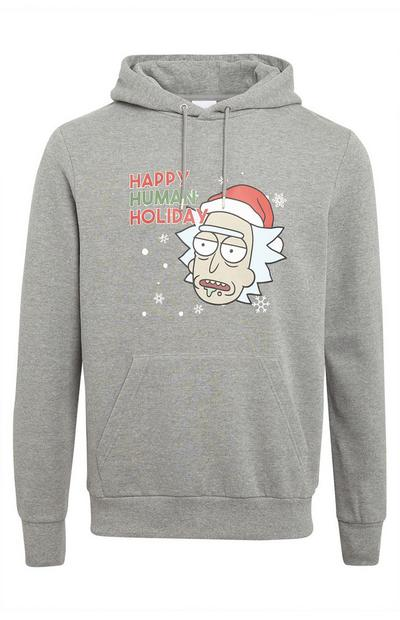 Grey Rick And Morty Pull Over Hoodie