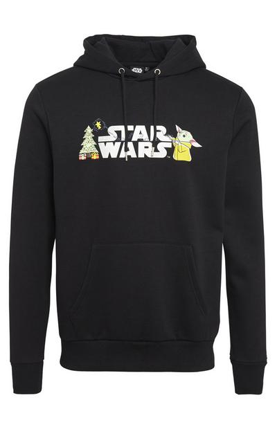 Black Disney Star Wars Mandalorian Pull Over Hoodie
