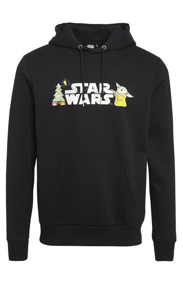 Črn pulover s kapuco Disney Vojna zvezd Mandalorijanec