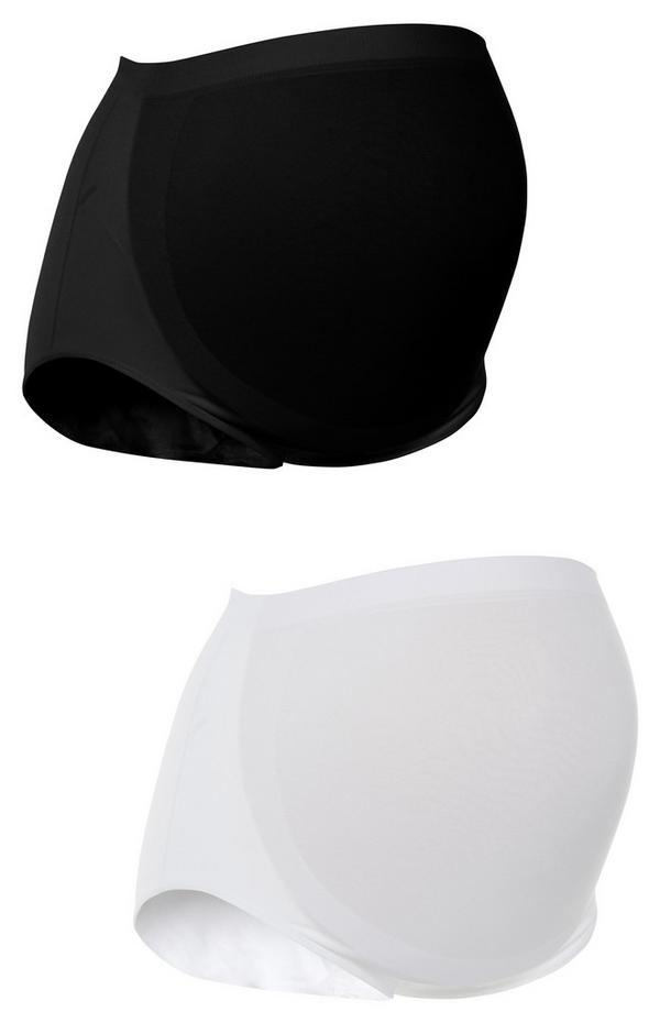 Pack de 2 bandas de premamá de sujeción para el vientre blanca y negra