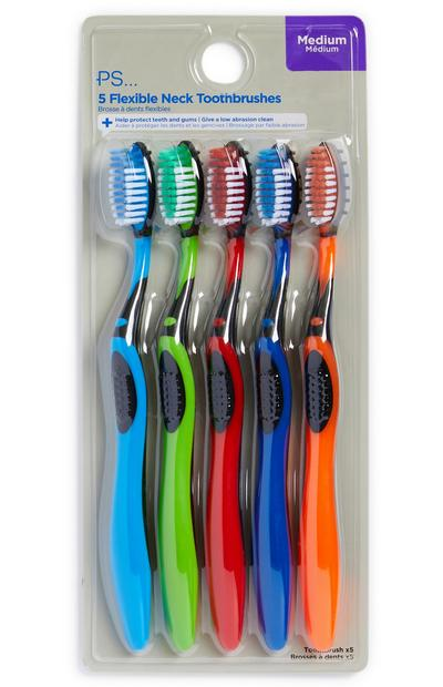 Lot de 5 brosses à dents pour homme
