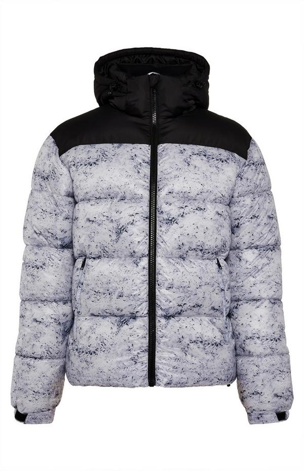 White And Black Marbled Wet Look Puffer Jacket