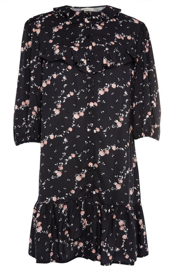 Zwarte mini-jurk met strook met franjes