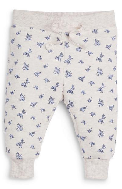 Baby Girl Cream Floral Joggers