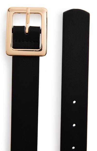 Eenvoudige zwarte riem met vierkante gesp