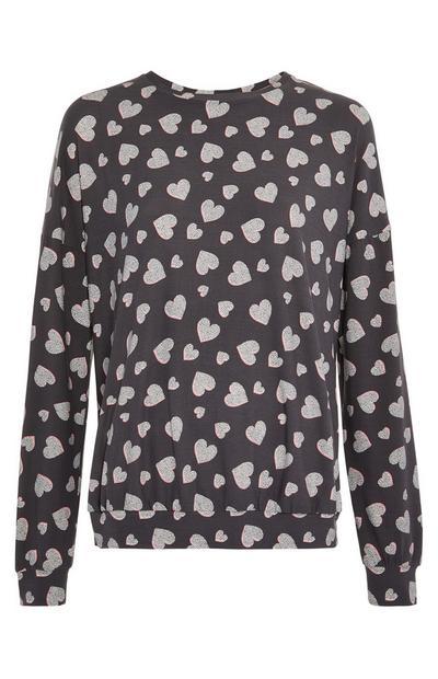 Dark Grey Heart Print Longsleeved Pyjama Top