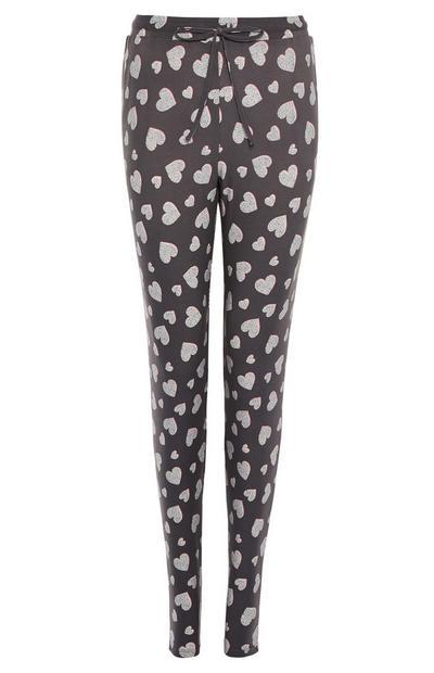 Dark Grey Heart Print Pyjama Leggings