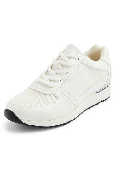 White Metal Detail Leisure Trainers