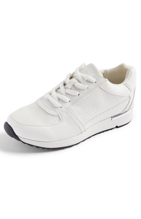 White Snakeskin Print With Metal Detail Trainer