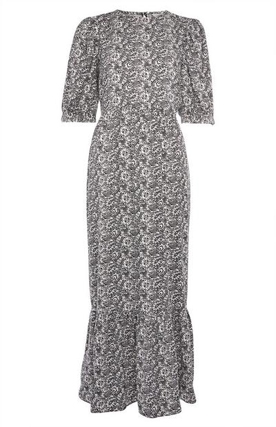 Grey Puff Sleeve Spun Midi Dress