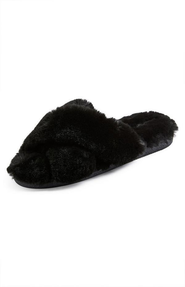 Zwarte slippers met imitatiebont en gekruiste bandjes
