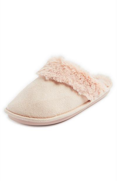 Peach Cross Strap Faux Fur Slippers