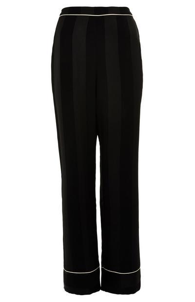 Schwarze Premium-Pyjamahose aus Satin mit Streifen