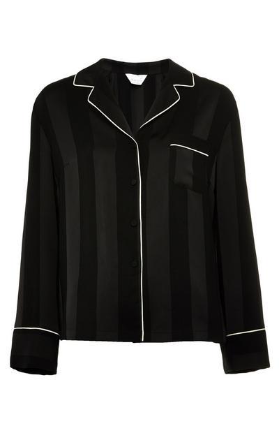 Schwarzes Premium-Pyjamaoberteil aus Satin mit Streifen