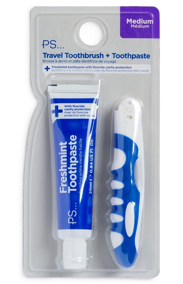 Conjunto de 2 cepillos de dientes de viaje para hombre