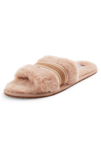 Camel Grosgrain Trim Mule Slippers