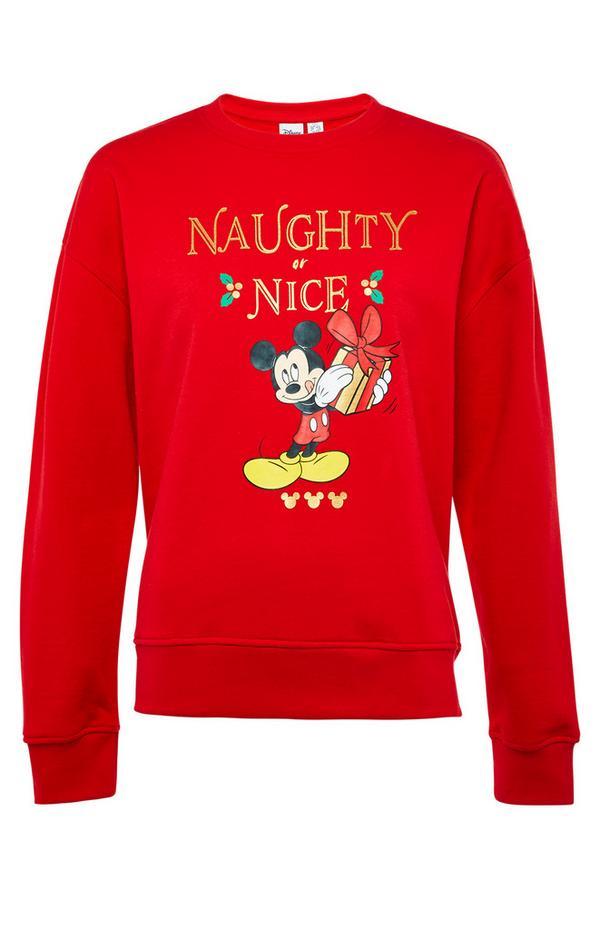 Camisola Natal Mickey Mouse vermelho