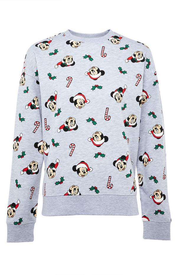 Mickey Mouse Candy Cane Print Gray Sweatshirt
