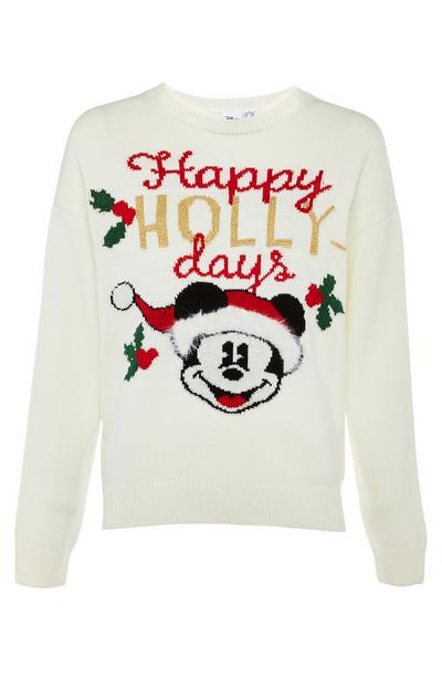 "Jersey de punto de color crema con mensaje ""Happy Hollydays"" de Mickey Mouse"