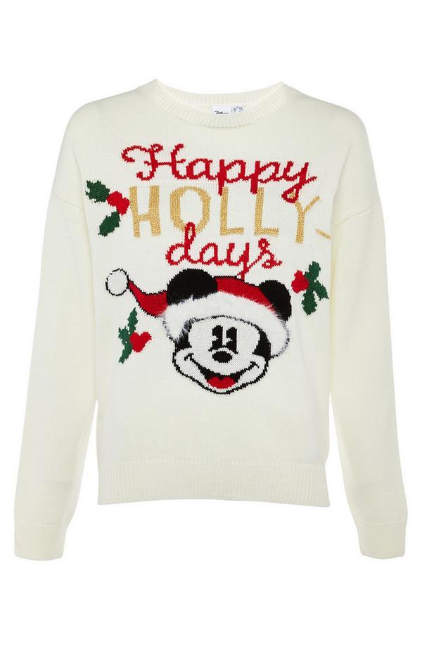 Crèmekleurige gebreide Mickey Mouse-trui met 'Happy Hollydays'