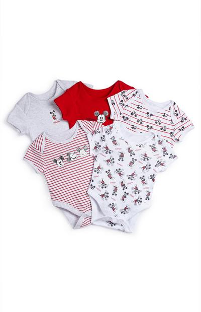 Lot de 5 bodys rouge et blancs Mickey Mouse bébé