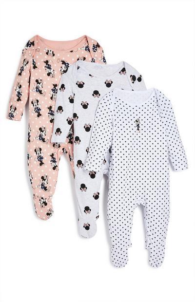 Newborn Baby Disney Minnie Mouse Sleepsuit 3 Pack