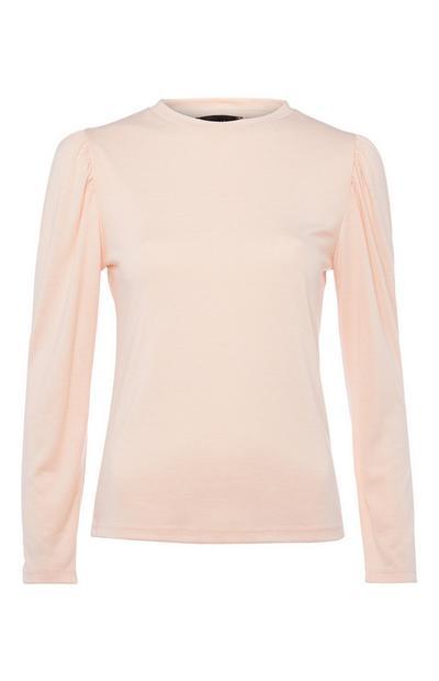 Rožnata majica z nabranimi rokavi