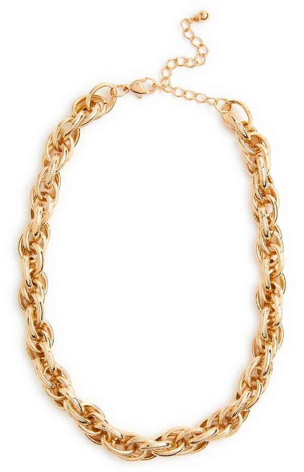Mix Link Goldtone Chunky Chain Necklace