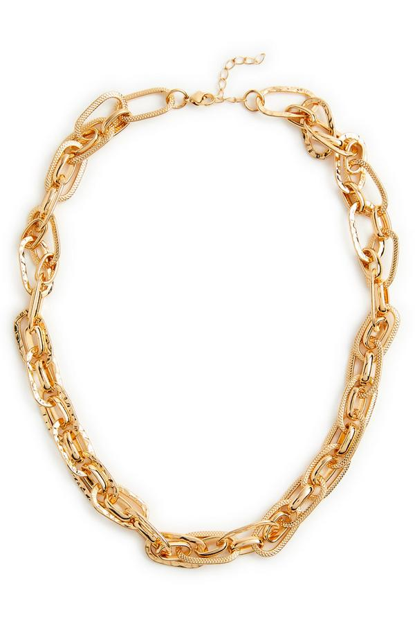 Multi Layer Mix Link Goldtone Chain Necklace