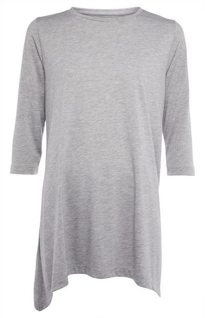 Grey Long Sleeve Asymmetric Hem Top