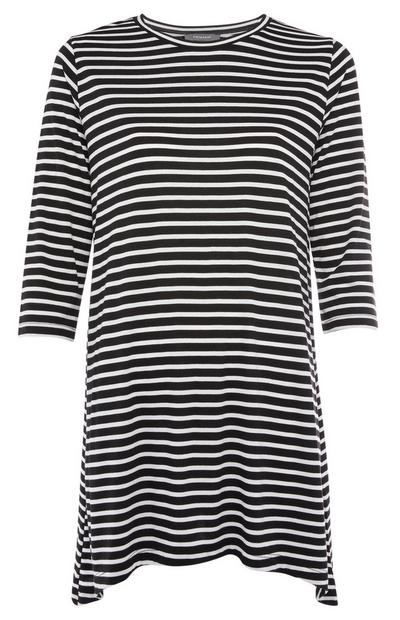 Black and White Striped Asymmetric Hem Jumper Dress