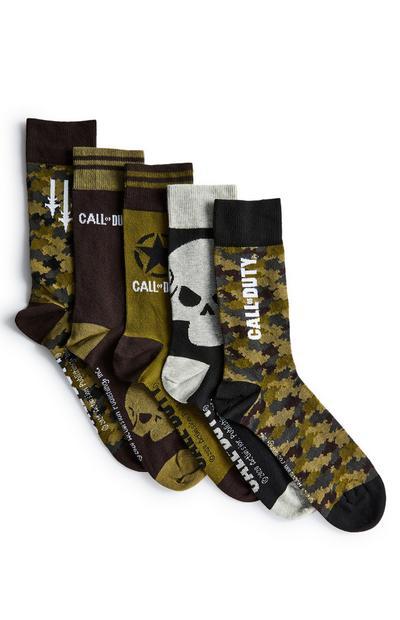 Call of Duty-sokken in kaki, zwart en grijs, 5 paar